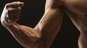 A close-up of a muscular arm flexing. Source: The Miss Information