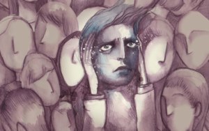Illustration of a person in a faceless crowd, looking entirely overwhelmed and anxious