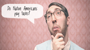 """Confused person in glasses stands against pink wallpaper, asking """"Do Native Americans pay taxes?"""""""