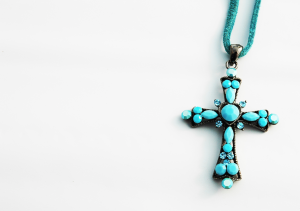 A blue cross necklace