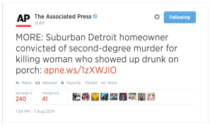 "Tweet from the AP: ""MORE: Suburban Detroit Homeowner convicted of 2nd-degree murder for killing woman who showed up drunk on porch."""