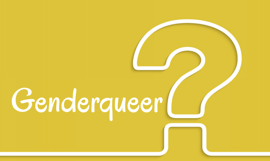 "Against a yellow background is written in white, ""Genderqueer?"""