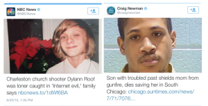 Two headlines showing Dylann Roof looking innocent and Jim Jones as some with 'a troubled past'