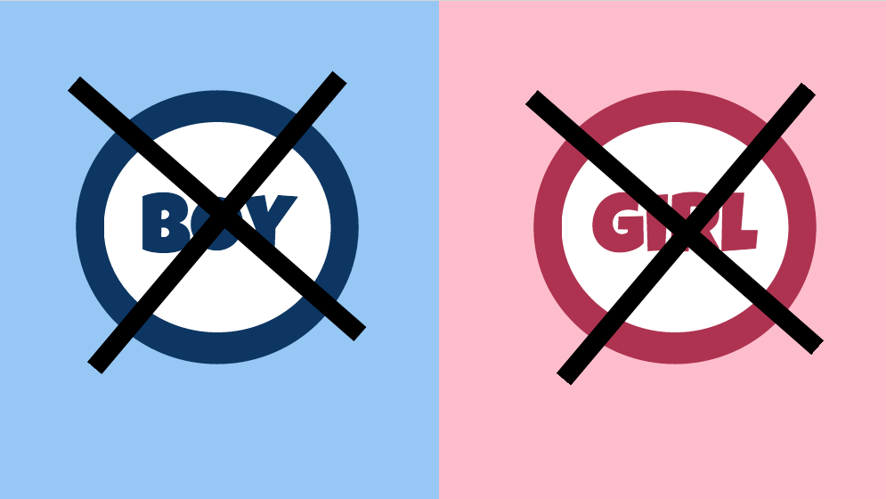 "Against a blue background, the word ""Boy"" is crossed out; against a pink background, the word ""Girl"" is crossed out"