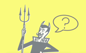 A gray-and-white illustrated devil against a light yellow background has a speech bubble coming out of its mouth with a question mark
