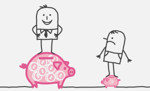 A crude drawing of one person standing on a large piggy bank and another on a small one