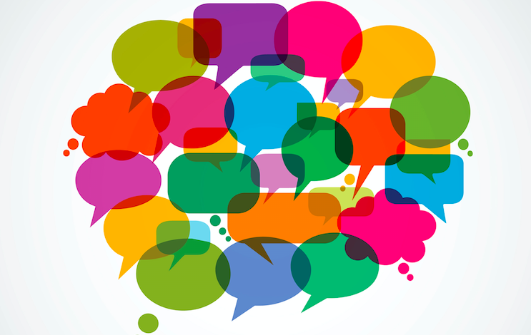 A group of colorful speech bubbles