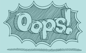 "The word ""Oops!"" is drawn against a blue background"