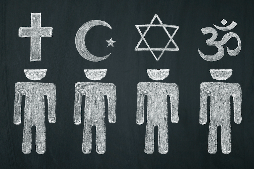 On a chalkboard, people are drawn with their heads representing some major world religions: Christianity, Islam, Judaism, and Hinduism.