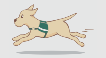 An illustration of a service dog, running happily