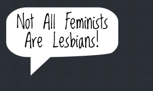 "Against a blue background, a white speech bubble reads ""Not All Feminists Are Lesbians!"""