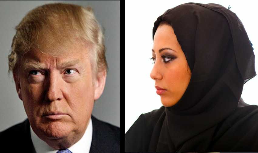 An image of Donald Trump on the left next to an image of a Muslim person on the right