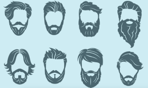 A set of illustrated beards, set against a light blue background