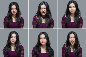 Multiple images of the same person, making disgusted faces
