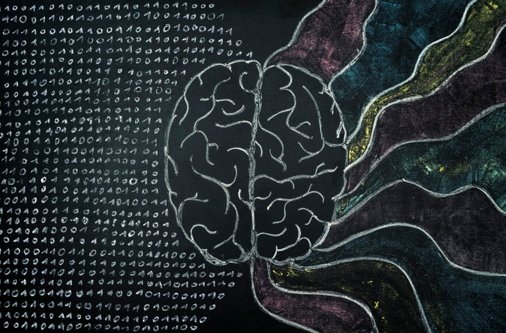 A chalk drawing of a brain with a flurry of numbers coming out of one side, and a rainbow emerging from the other.